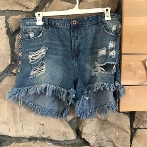 Rue 21 Ripped/Lace Up Denim Shorts